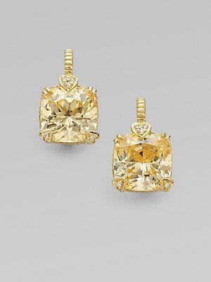From the Lola Collection: Judith Ripka Canary Crystal, Diamond & 14K Gold Cushion Drop Earrings.  #judithripka #yellow