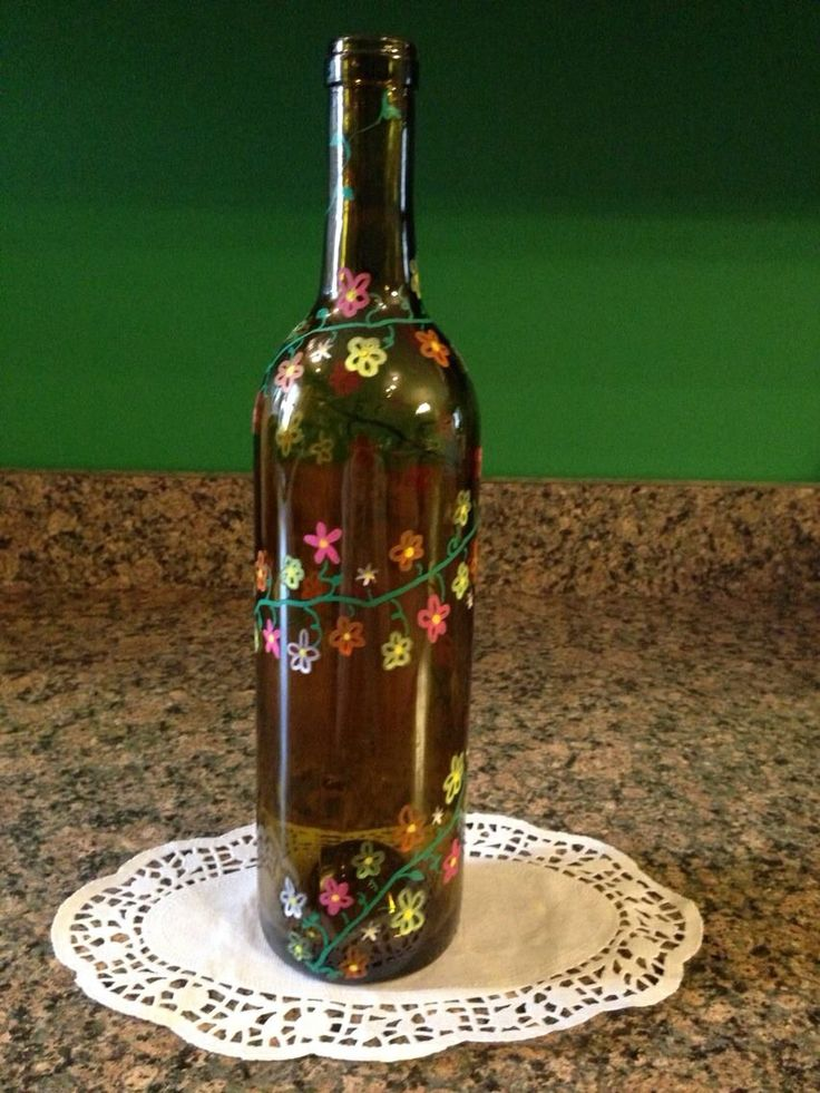 20 best images about spring on pinterest decorative for Painting flowers on wine bottles