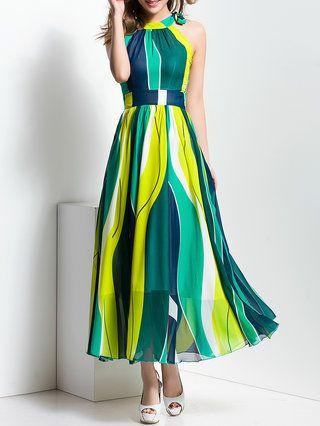 Chiffon Halter Sleeveless Casual Maxi Dress
