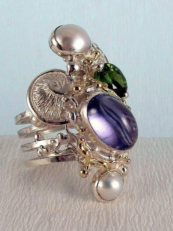 серебро и золото, флуорит, зеленый турмалин, жемчуг, Григорий Пыра Пиро уникальный дизайн кольца спирали 7053
