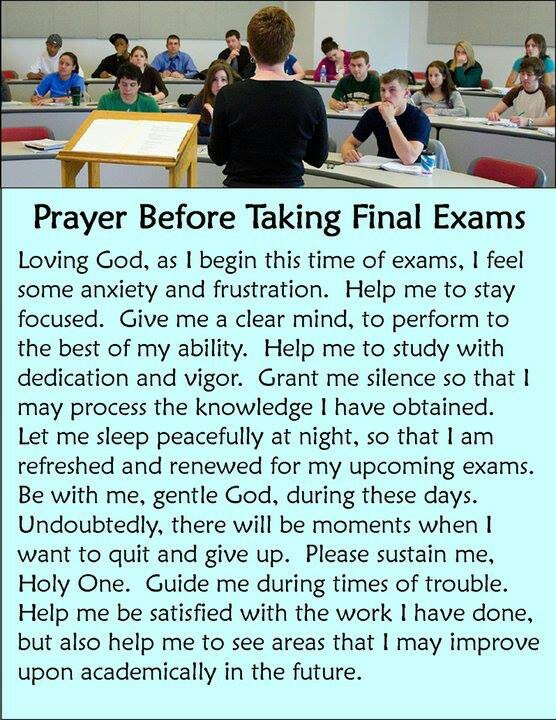 Prayer for final exam
