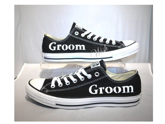 Wedding mens converse / groom converse / usher by CindersWish