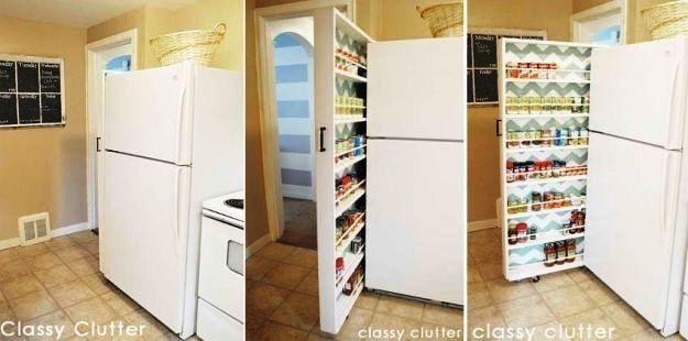 Скрытая еда шкаф для хранения |  Идеи для хранения продуктов для небольших домов