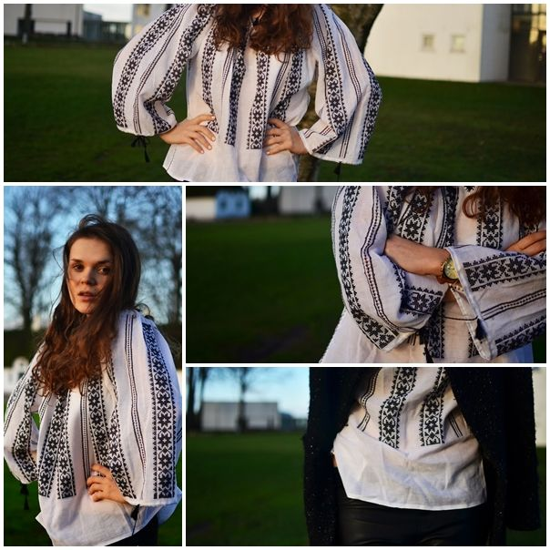 Stil romanesc! Bluza traditionala inspira o multime de fete pasionate de moda! sursa foto: www.ralucasmood.blogspot.ro