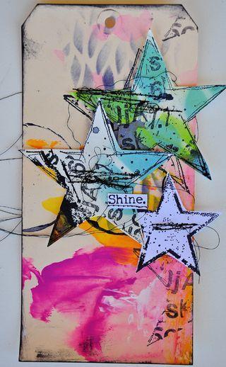 Mixed media tag - inspiration. Shine. Stars. Dina sept 04