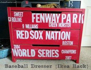 Red Sox Subway Style Baseball Dresser {Ikea Hack}