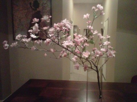 DIY cherry blossom centerpiece with a real branch and silk ...