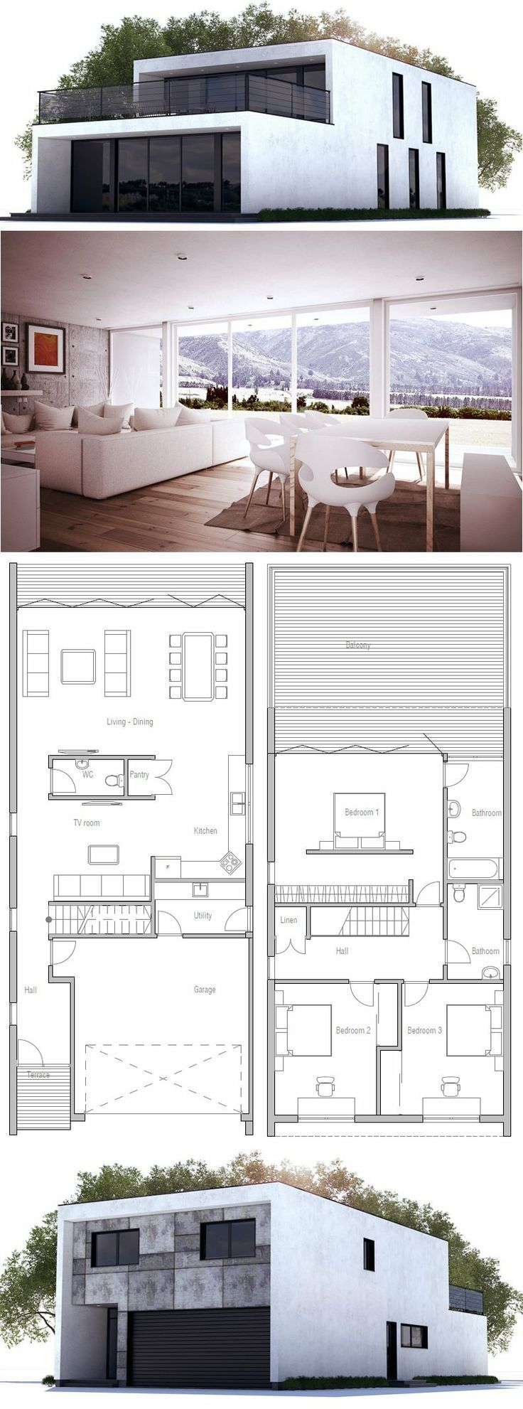 Modern Contemporary Home with three bedrooms and double garage. Floor Plan from ConceptHome.com: