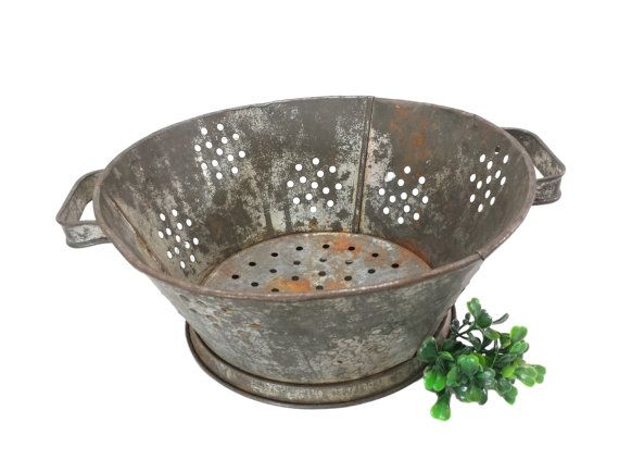 Vintage Colander Strainer with Handles by EclecticEmbrace on Etsy