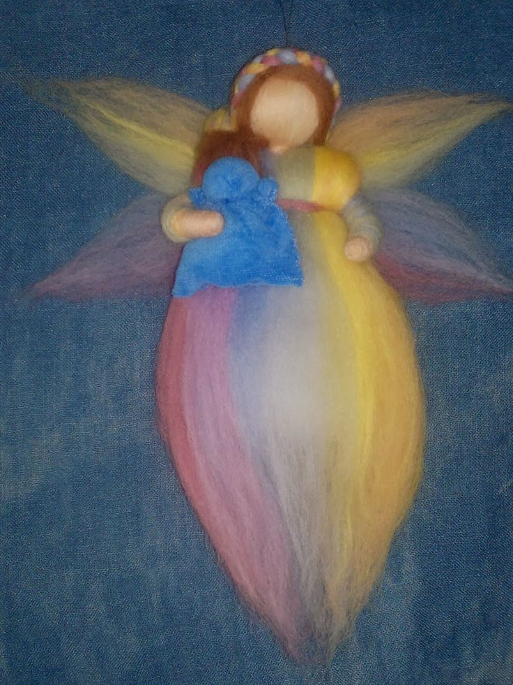 Rainbow wool fairy with baby, handmade, Waldorf needle felted