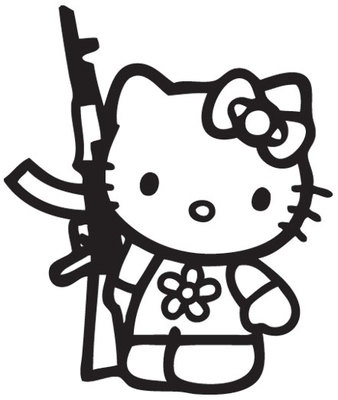 For Winters 410 Hello Kitty AK47 Sticker Vinyl Decal !Choose a Color! Sanrio gun JDM military