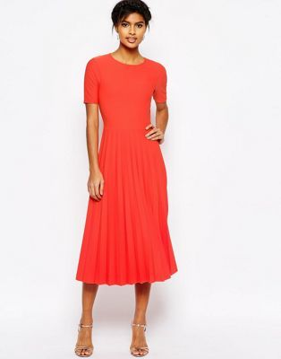 ASOS Textured Pleated Midi Dress