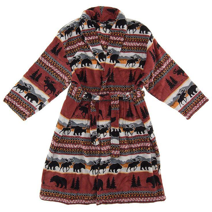Bear and Moose Fleece Bathrobe for Women - Women's Bath Robes