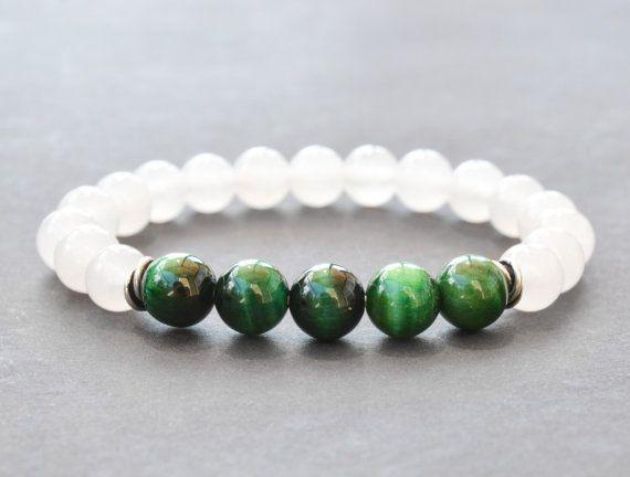 Green Tiger Eye & White Jade Bracelet Mens Bracelet Bead Bracelet Womens Gemstone Stretch Bracelet Sterling Silver Yoga Bracelet Gifts