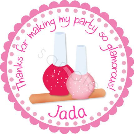 Personalized Spa Nail Polish Party Stickers - Birthday Stickers, Favor Labels, Party Favor, Address Labels, Makeover Party - Choice of Size by partyINK on Etsy