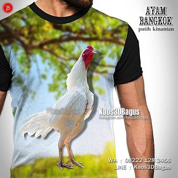 Kaos Ayam Bangkok PUTIH, Ayam Kinantan, Kaos3D, Kaos Ayam Jago, Ayam Aduan Putih, Kaos3DBagus, Kaos Binatang, Animal, https://instagram.com/kaos3dbagus, WA : 08222 128 3456, LINE : Kaos3DBagus