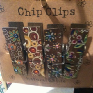 Decorated clothes pins as chip clips!