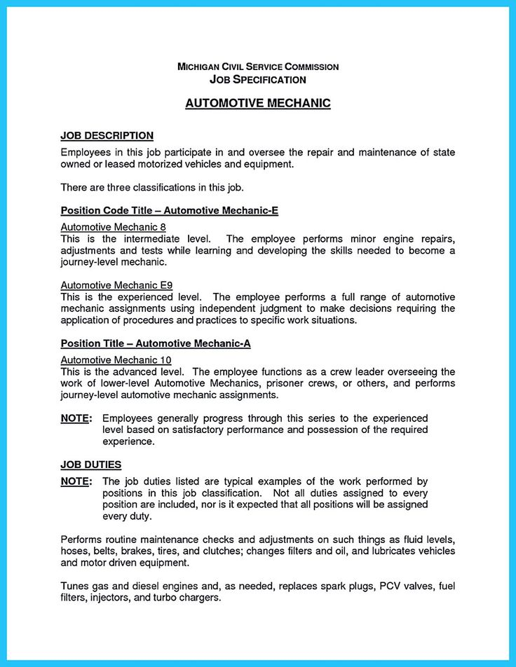 Auto Body Mechanic Resume Template Automotive Repair Templates Basic Technician  Sample Featuring Summary Highlight Experience Education .  Mechanic Resume Examples