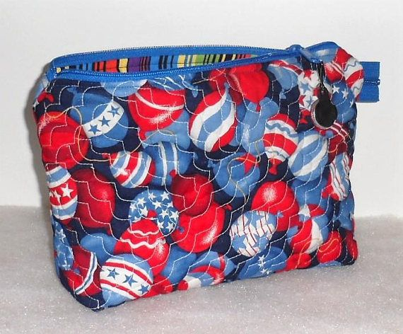 HANDMADE and MACHINE QUILTED Wide Mouth Cosmetic Bag/Red White