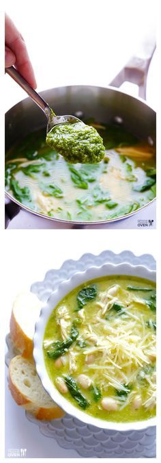 5-Ingredient Pesto Chicken Soup -- super easy to make, and so fresh and delicious! | gimmesomeoven.com