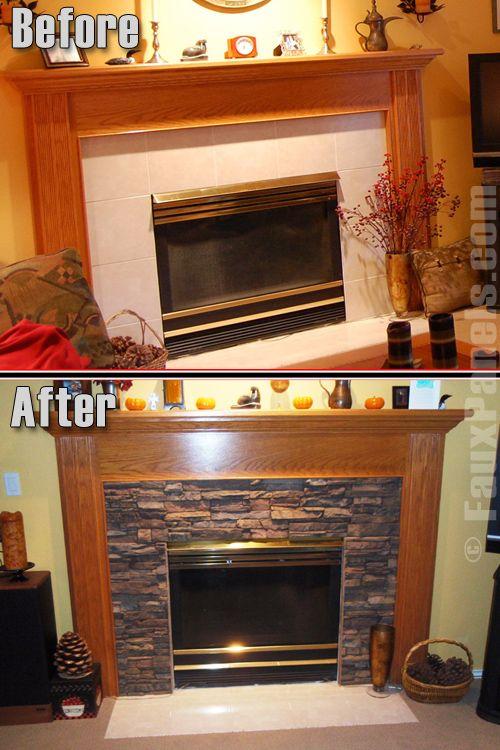 Good fireplace idea w/ fake stone.