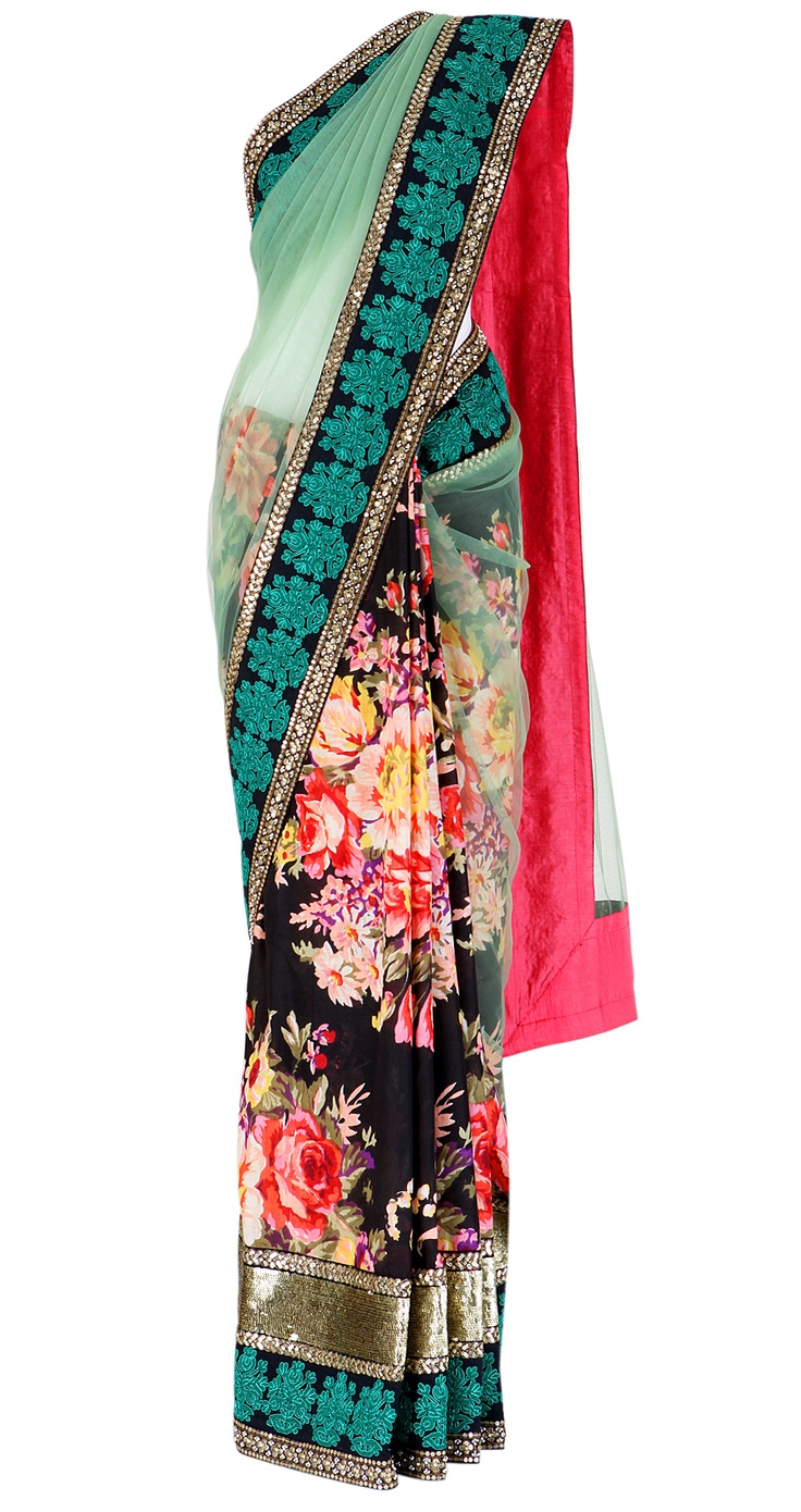 sabyasachi - floral printed georgette saree with a green net pallu and masjid border