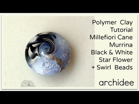 ▶ Tutorial Polymer Clay | Murrina Black & White Star Flower | DIY Swirl - YouTube