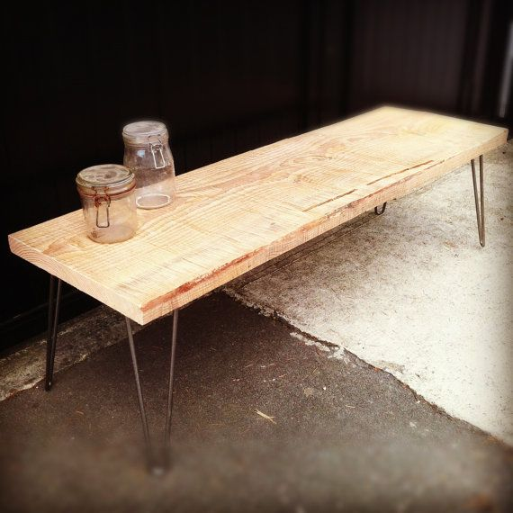 ChainSaw Milled Bench with hairpin legs by JSReclaimedWood on Etsy, $420.00
