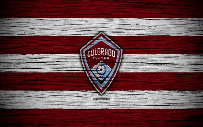 Download wallpapers Colorado Rapids, 4k, MLS, wooden texture, Western Conference, football club, USA, Colorado Rapids FC, soccer, logo, FC Colorado Rapids