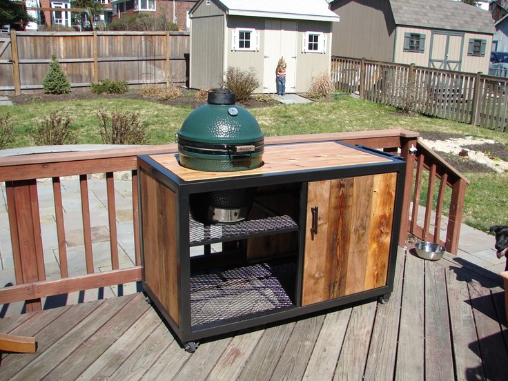 Reclaimed Wood U0026 Steel Table For The Big Green Egg