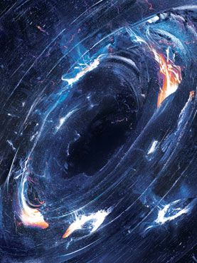 LAST GASP: The swirling disk of matter falling into a black hole radiates intensely and shoots high-speed bursts of plasma back into the galaxy.  How Black Holes Shape the Galaxies, Stars and Planets around Them: Scientific American
