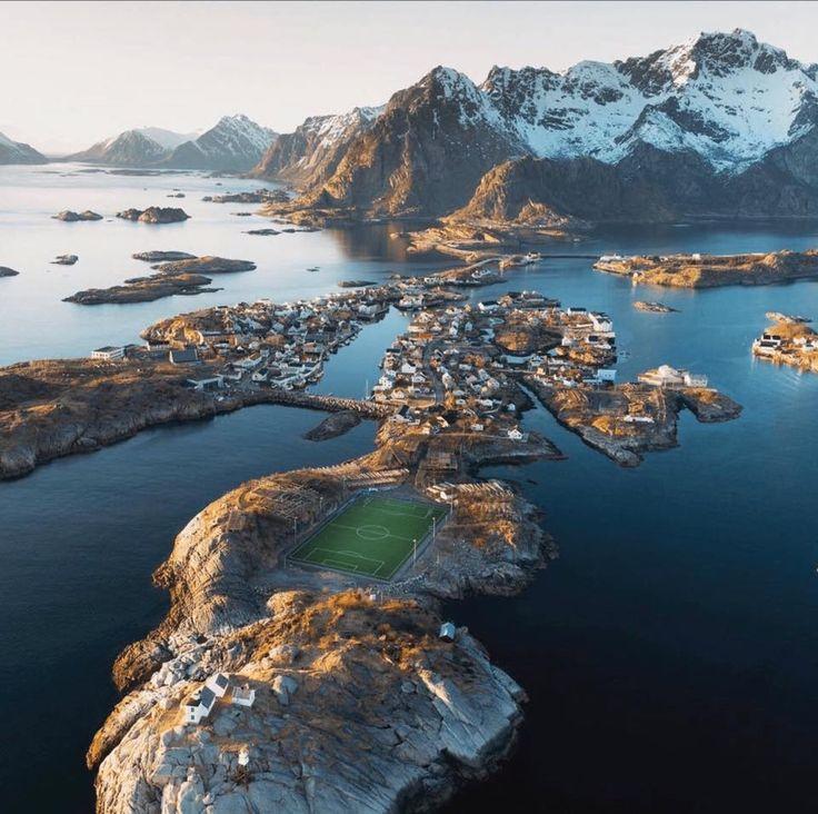 Amazing Soccer Pitch in Lofoten Islands, Norway