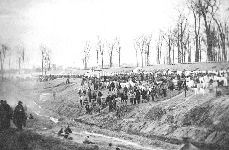 Camp Morton, near Indianapolis, IN. where more than 1,700 CSA died during the course of the War.  Housed in unfloored barracks within an enclosure, it was impossible for prisoners to keep clean -- or to keep warm in winter because fuel was extremely scarce despite the large number of trees in the enclosure (which prisoners were forbidden to cut).