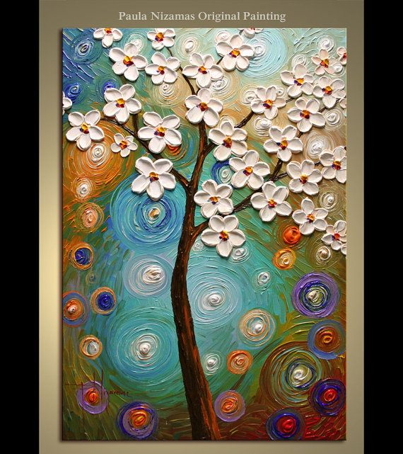 """ORIGINAL Abstract Modern Texture Painting Spring Blooms Large Gallery Style and Quality Artwork from Paula Nizamas 36"""""""