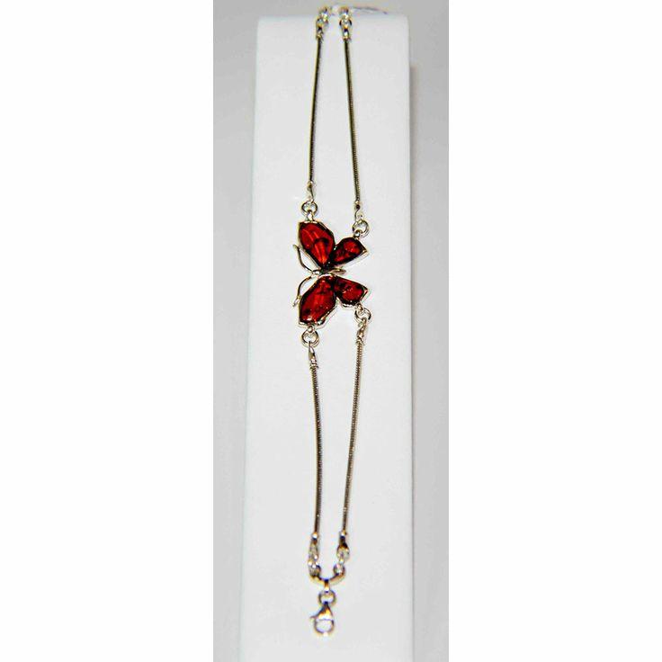 Sterling Silver Cognac Butterfly Amber Bracelet- $109.60