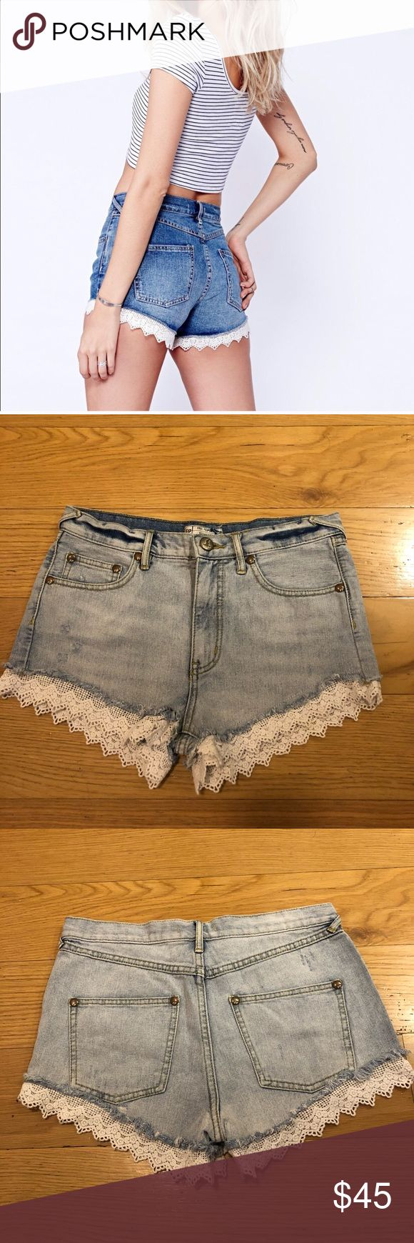 "FREE PEOPLE Lacey Cut-Off Shorts Free People Lacey Cut-Off Shorts. -Size 27. -Belt loops. -Scalloped Lace hem. -Rise:10"" -Inseam: 2.5"" -Excellent condition!   NO Trades. Please make all offers through offer button. Free People Shorts Jean Shorts"