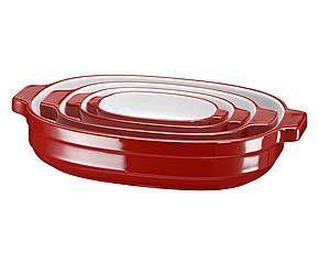 Set di 4 pirofile da forno in ceramica - rosso