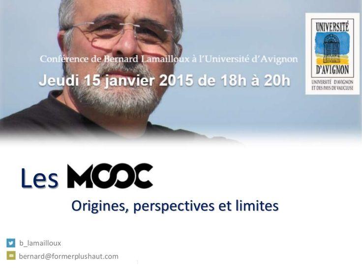 Résumé de la conférence sur les MOOC donnée à l'université d'Avignon par Bernard Lamailloux le 15 janvier 2015.