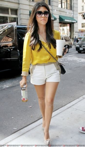 summer: Kourtney Kardashian Outfits, Kardashians Jenners, Favorite Kardashian, Yellow Shirts, Kardashian Style, Kourtneykardashian, Kourtney S Style, Yellow Blouse
