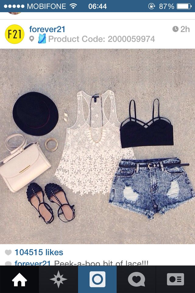 Lace top with jean sort - F21