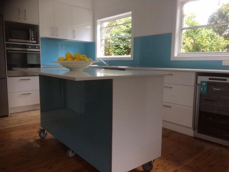 Beautiful #blue luxury #acrylicsplashbacks make this kitchen pop with colour.