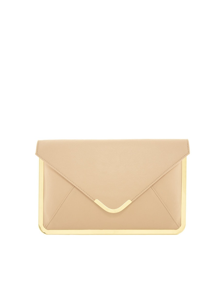 simple nude clutch with gold detail