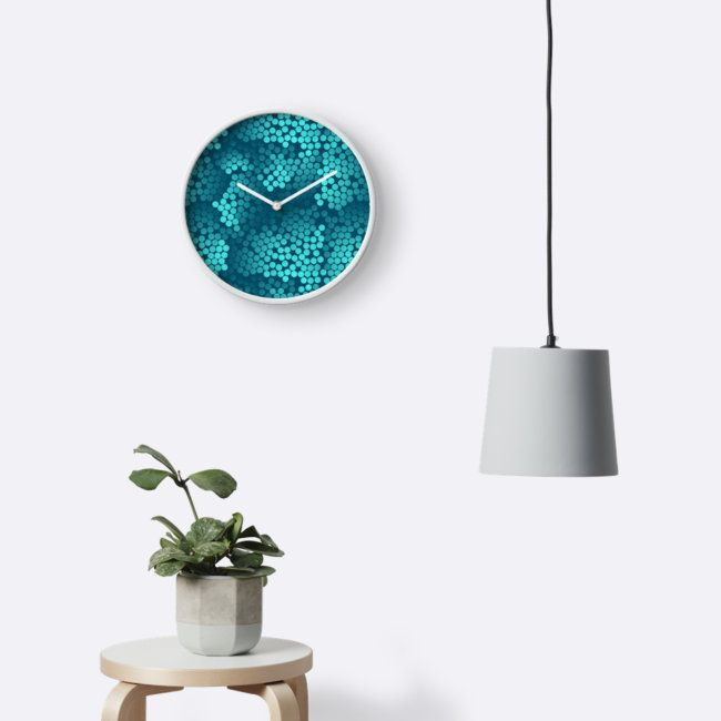Microscopic Mermaid Scales Mint and Teal clock has turquoise abstract dots on a teal background. Pattern design by Minikuosi.