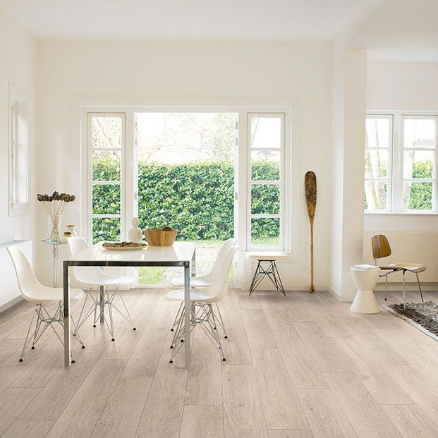 Brighten up your home or office with the Quickstep Classic moonlight oak light laminate flooring. Each one of the extra wide, smooth oak effect planks fit together with ease and are easy to maintain and keep clean. Get free underlay and manufacturer's warranty cover so you will be sure to enjoy the flooring for longer. Order the Quickstep Classic moonlight oak light laminate flooring today from flooringsupplies.co.uk.