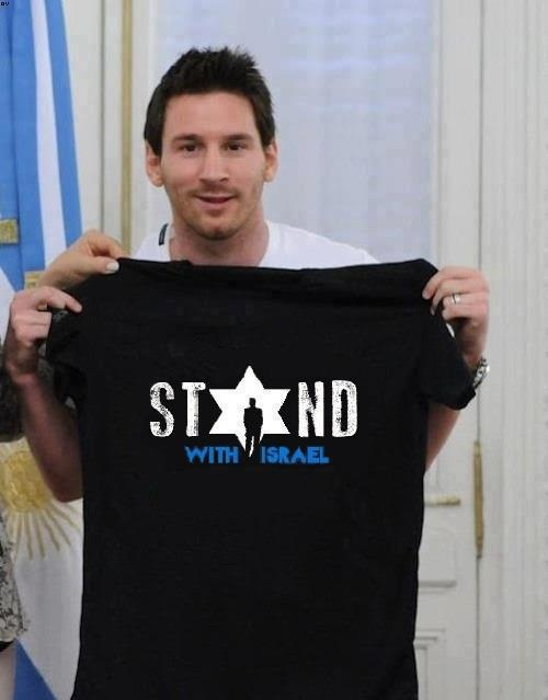 """Lionel Messi shows off his new """"Stand with Israel"""" t-shirt from israeli-T.com Get your own 'Stand with Israel T-shirt' HERE> http://www.israeli-t.com/Israel-t-shirts/Support-Israel-t-shirts/Stand-with-Israel-T-Shirt-4884/ Re-pin this if you stand with Israel too!"""