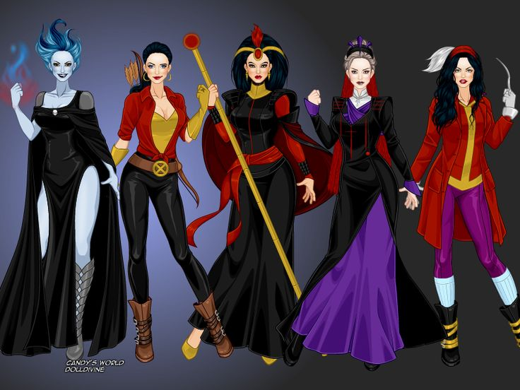 Here is a design I made of the Disney Villains ( from Disney, using the X-girl dressup game appearance order: Lady Hades, Lady Gaston, Lady Jafar, Lady Frollo &…