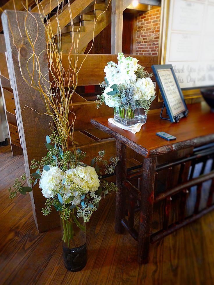Rustic Barn Wedding - Fall Wedding - Curly Willow, Hydrangeas, and Roses   Baumann's Florist