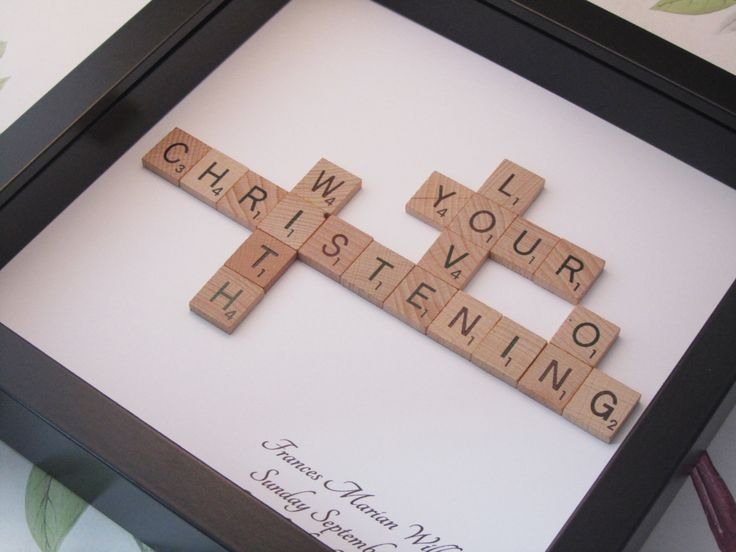 Personalised Christening Scrabble picture - Christening gift, baptism gift, naming day, naming ceremony gift - pinned by pin4etsy.com