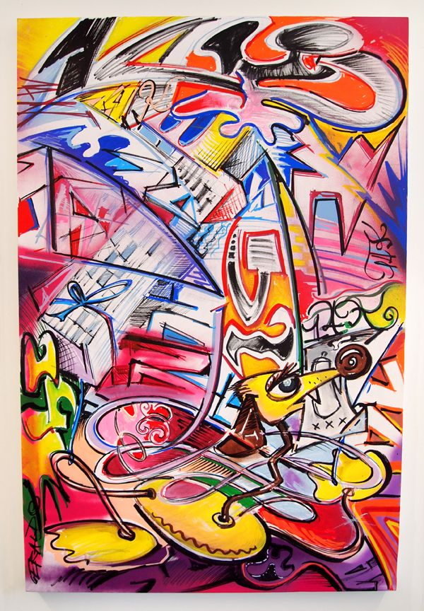 Canvas- Marker, Acryl Spray Paint - 80 cm x 120 cmDas Bild wird nicht per Post verschickt und muss in Zürich abgeholt werden.Gerardo aka Gäri BlackGerardo ist gelernter Schriftgestalter. Seine Liebe zu Farben und Buchstaben keimte früh, was sich in den Strassen von Zürich zeigte. Doch seine Graffitis waren nicht nur Letters, auch Characters gehörten zu seinem Repertoire. In seiner aktivsten Zeit sorgte e...