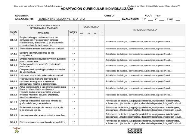 Documento para elaborar el Plan de Trabajo Individualizado Realizado por Belén Cristiano Barba para el Blog de Súper PT  A...